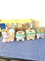 Vintage RARE Set of 4 Ceramic Bunny Train Candle Holder Easter Collectible 1995