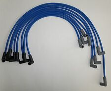 BLUE 8mm Spiral Core Spark Plug Wires Small Block Chevy 350 HEI Over Valve Cover