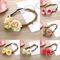 Ladies Garland Rose Flower Braid Crown Hairband Headband Festival Wedding