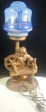 Vintage Cast Metal Lamp Woman at Spinning Wheel-Scenic Blue Globe/Shade-Working