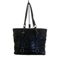 Coach Womens Tote Shoulder Bag Black Leather