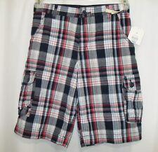 NWT Boys Faded Glory Cargo Shorts 14 Adj Waistband Red Blue Plaid
