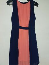 MANGO WOMEN'S PLEATED SLEEVELESS DRESS-NAVY ORANGE, Size 2