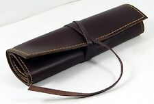 Handmade Rustic Genuine Leather Pencil or Pen Case Roll With compartments