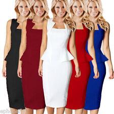 Gamiss Women Slim Peplum Stretch Wear To Work Bodycon Evening Party Pencil Dress