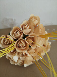White Roses Bouquet Wooden Flowers Wood Artificial Valentine's Day With Yellow
