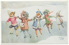 Rare Arthur Thiele - Dressed Cats Go Ice Skating
