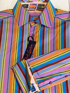 ROBERT GRAHAM ~ MENS BRILLIANT STRIPED DRESS SHIRT  ~MENS XL  NEW