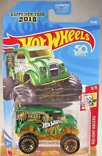 2018 Hot Wheels #76 New Year Holiday Racers 3/6 MONSTER DAIRY DELIVERY Green