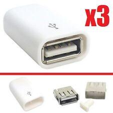x3 CONECTOR USB HEMBRA 4 PIN PARA SOLDAR CON CARCASA FEMALE CONNECTOR BLANCO