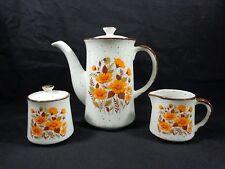 TEAPOT CREAMER AND SUGAR BOWL Set Brown Speckled Orange Flowers Japan Ceramic