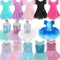 Girls Gymnastics Dancing Dress Kids Ballet Tutu Dancewear Leotard Skirt Costume
