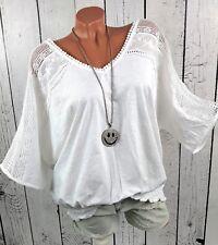 Damen Ballon Shirt mit Spitze und Smokbund Bluse luftig leicht weiß Gr. 44 46