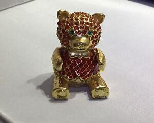 Vintage Teddy Bear treasure crystals trinket  Box Signed