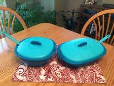 New TUPPERWARE Legacy Soup Tureen & Casserole Dish / Rice Server Set ~ Blue