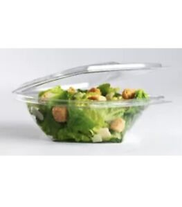 500 x 250cc Clear Plastic Salad Containers with Hinged Lids Leakproof Rectangle