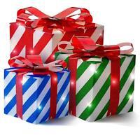 NEW Set 3 Christmas Lighted Gift Boxes Present Holiday Christmas Yard/Home Decor