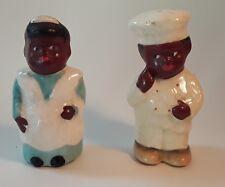 Vintage Black Americana Chef & Maid Salt And Pepper Shaker S&P Set Japan