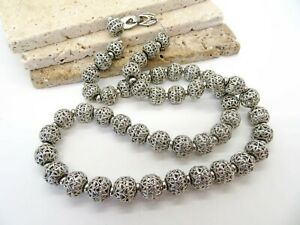 """Vintage Signed Monet Silver Filigree Bead On Chain 27"""" Long Necklace T57"""