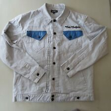 Pink Dolphin Khaki Beige Coat Jacket Button Blue Leather Pocket Mens Size 2XL