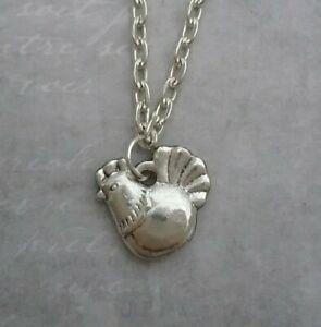 Tibetan Silver CHICKEN Pendant with Necklace - PRESENT GIFT. HEN ROOSTER BIRD.