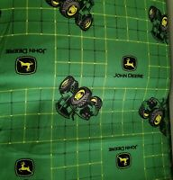JOHN DEERE Ticking Plaid Green Tractor Toss BTY NEW