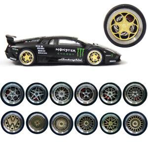 1/64 Scale Alloy Wheels Brake Caliper Rubber Tires fr Matchbox,Tomy,Tarmac Works