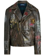 Polo Ralph Lauren Leather Jacket Skull English Moto Biker Rider Paint Royal King