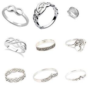 Men's 925  Sterling Silver Mixed CELTIC  Design Rings IN Sizes G-Z