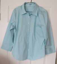 J. CREW Cotton Spandex AQUA BLUE SHIRT BLOUSE  XL NEW MSRP $79.