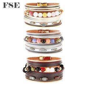 Women Leather Wrap Bracelet Magnet Clasp Beads Charms Bracelet Multi Color 023