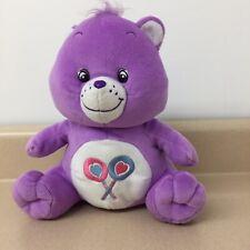 "Care Bears Sitting Share Bear Purple Bear Plush 2003 Nanco 10"" Euc Ar38"