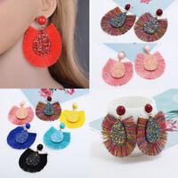 1Pair Women Girls Bohemian Aolly Long Tassel Dangle Drop Stud Earrings Jewelry