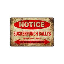 SUCKERPUNCH SALLYS Motorcycles Parking Sign Vintage Retro Metal Art Shop Bar