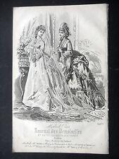 GRAVURE MODE 19e - JOURNAL DES DEMOISELLES 1872 - MARIEE - MODES MME DU RIEZ