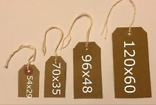 Quality brown parcel strung/price tags tie on craft label, 4 sizes free postage