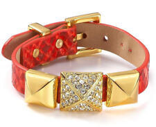 Juicy Couture Perfectly Gifted Pyramid Stud Python Leather Wrap Orange  Bracelet