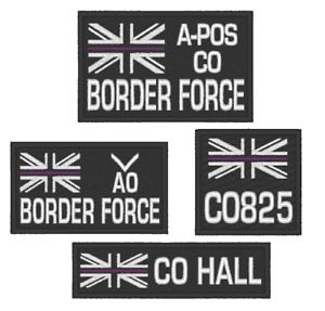 EMBROIDERED  CHOICE OF THIN PURPLE LINE BORDER FORCE PATCHES WITH CUSTOM OPTIONS