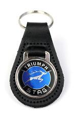 Triumph Stag Blue Logo Quality Black Leather Keyring
