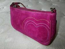 NEW COACH HAMPTONS PINK FINEST SUEDE LEATHER HEARTS DEMI SHOULDER BAG PURSE WOW!