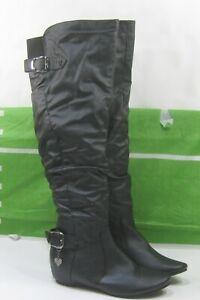 """Black 1.5""""Hidden Wedge Heel Round Toe Sexy Over Knee Boot WOMEN Size  11"""