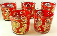 Vintage Culver Gold & Red Paisley Low Ball Cocktail Tumbler 5 Glass Set