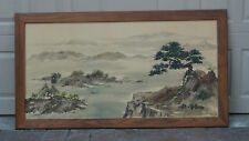 """CHINESE LARGE  WATERCOLOR PAINTING ON SILK SIGNED """"KIM'66""""LANDSCAPE SCENE,FRAMED"""