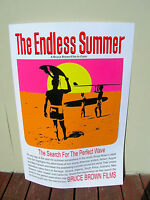 Vintage endless summer surf movie poster surfboard 1965 silk screened no fade