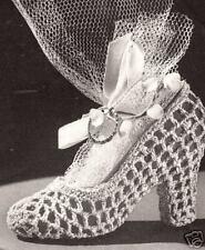 Crochet High Heel Slipper Shoe Bridal Favor Vintage Ptn