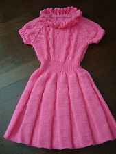Girl's Dress Handknitted sz 7-8 Ruffled Sweater-Dress Bright-Pink, brand new