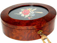 Signed Antique Wooden Oval Bridal Box Birdseye Maple Wood Lock Key Needlepoint
