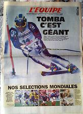 """L'Equipe Journal du 22/12/1994; Tomba c'est Géant/ """"Nos Séléctions Mondiales"""""""