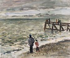 JEAN-JACQUES RENE (b.1943) SIGNED FRENCH OIL - FATHER & SON STANDING ON BEACH