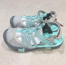 "JambuKD ""Rhea"" Big Kid Girl's Light Grey/Aqua Closed-Toe Sandals~~Size 11M"